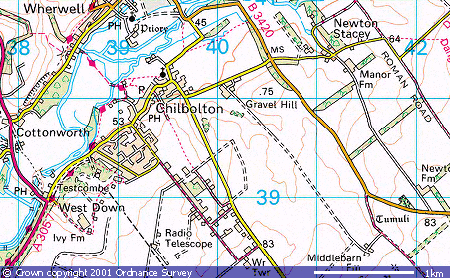 Chilbolton Close up map